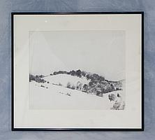 """Tom Bostelle, American, PA, 1921-2005, charcoal, Hill Landscape, site size 13 1/2""""x16 1/2"""", bears estate stamp and accompanied by le..."""