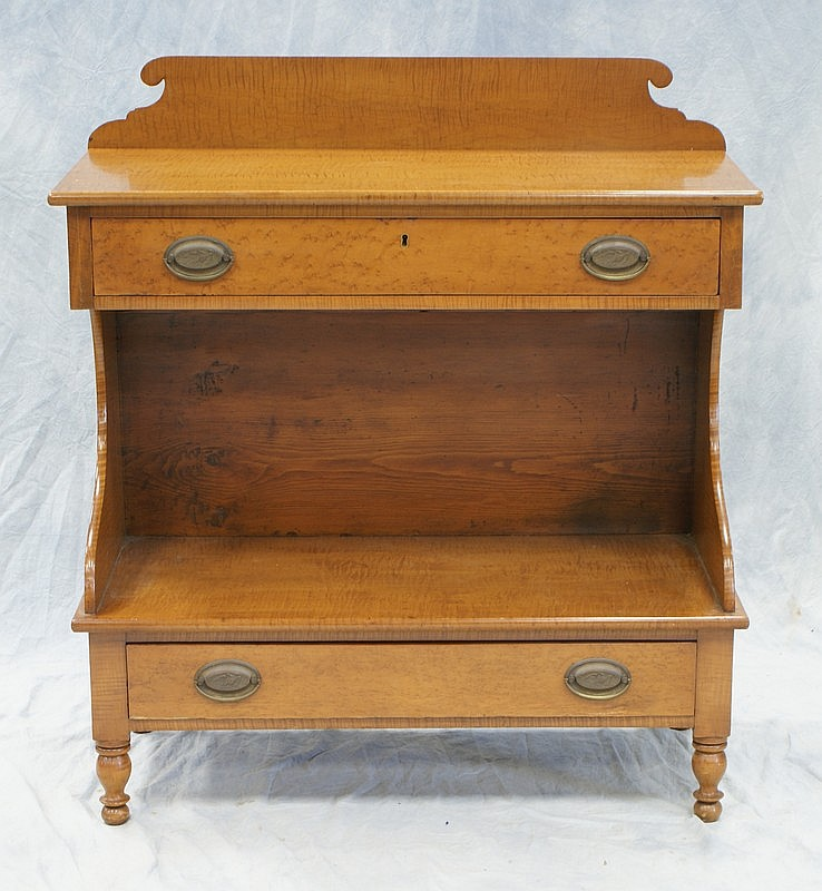Sheraton Figured Maple Server With scalloped splash back, 2 drawers, open base, turned legs, early 19th century, 34-1/2