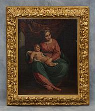 European School, 19th/20th c, o/c, Madonna and Child, in good ornate gilt frame, 27