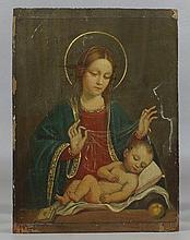European School, 19th/20th c, o/laminated wood panel,  Madonna and Child, unframed, 10