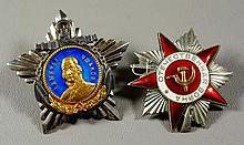(2) Soviet military medals, blue enamle with portrait, red enamel with hammer and sickle, about 2