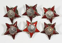 6 red enameled Soviet era star shaped buttons, Cyrillic inscriptions front and back, 1 7/8