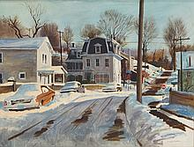 Robert Sakson, American, NJ, b 1938, o/c, Winter Landscape in NJ Town, 30
