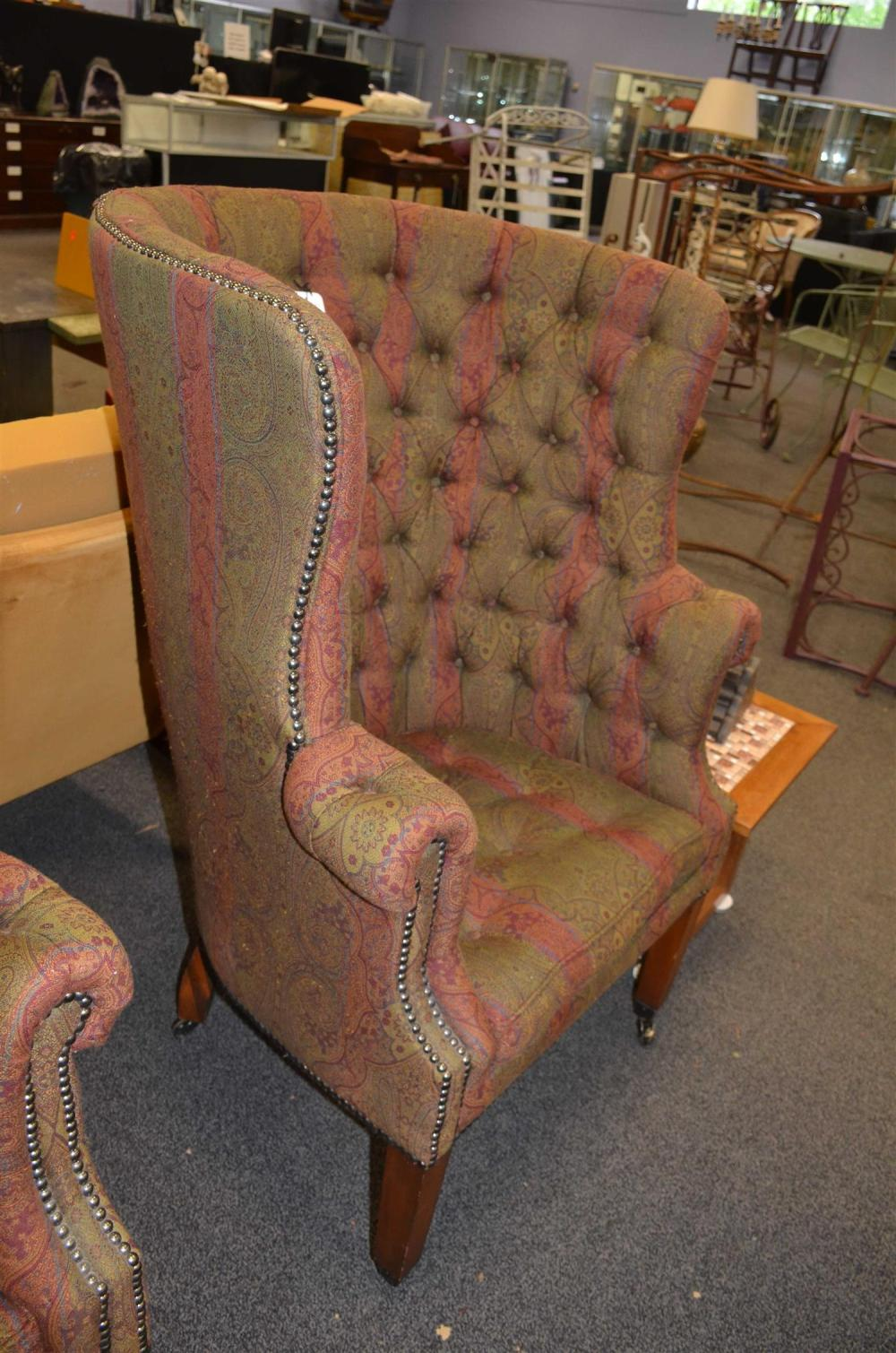 Picture of: Sold Price Pair Ralph Lauren Tufted Upholstered Barrel Back Wing Chairs 45 H Seat Height 20 H October 2 0119 10 30 Am Edt