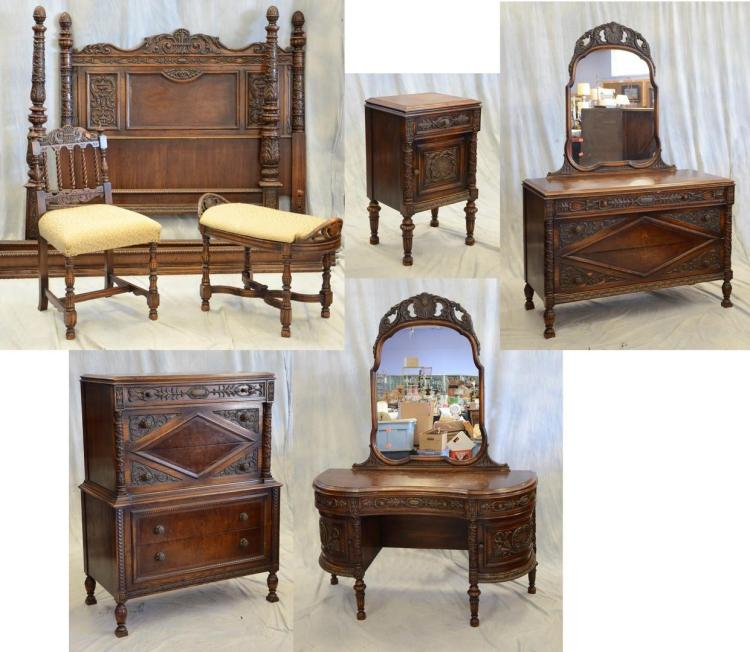 Piece carved oak jacobean style bedroom suite c con