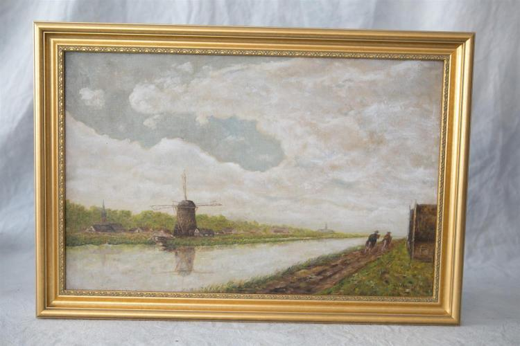 J J Strouse, o/canvas board, windmill along canal with 2 fig