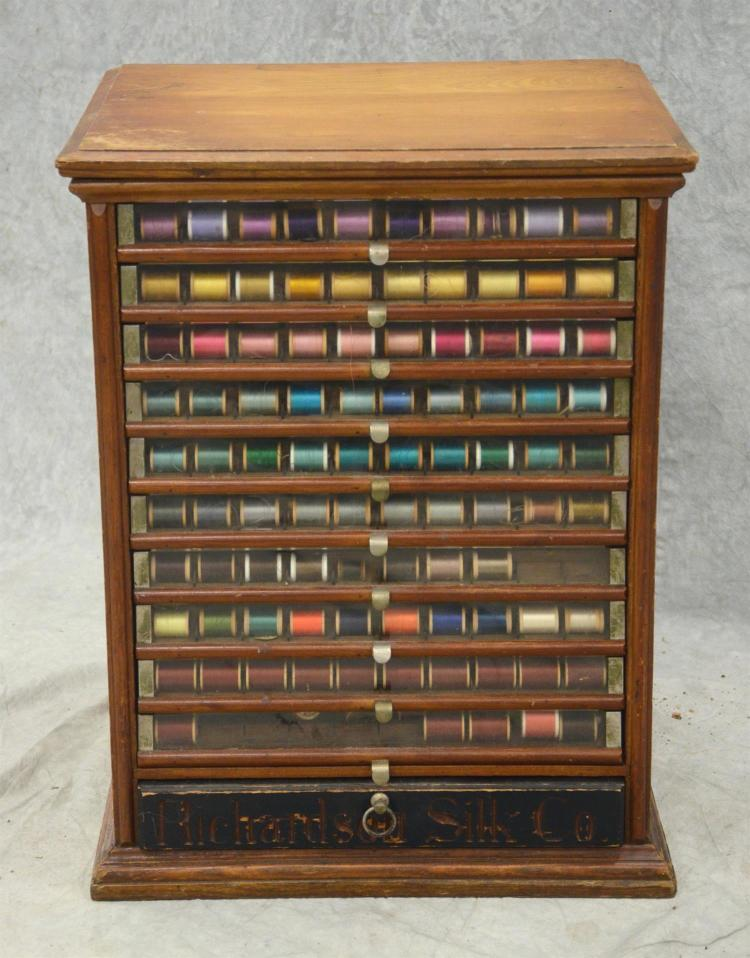 Richardson 39 39 S Perfect Silk Oak Spool Cabinet Many Spools Of