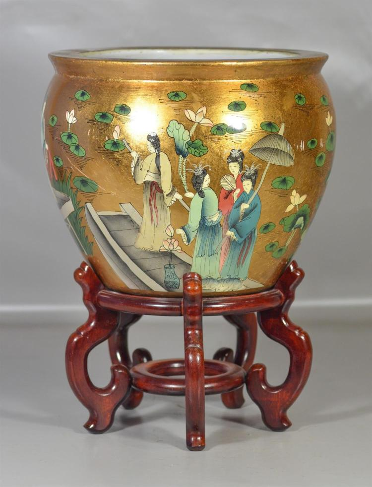 Modern asian style fish bowl and stand maidens in a garden for Fish bowl stand