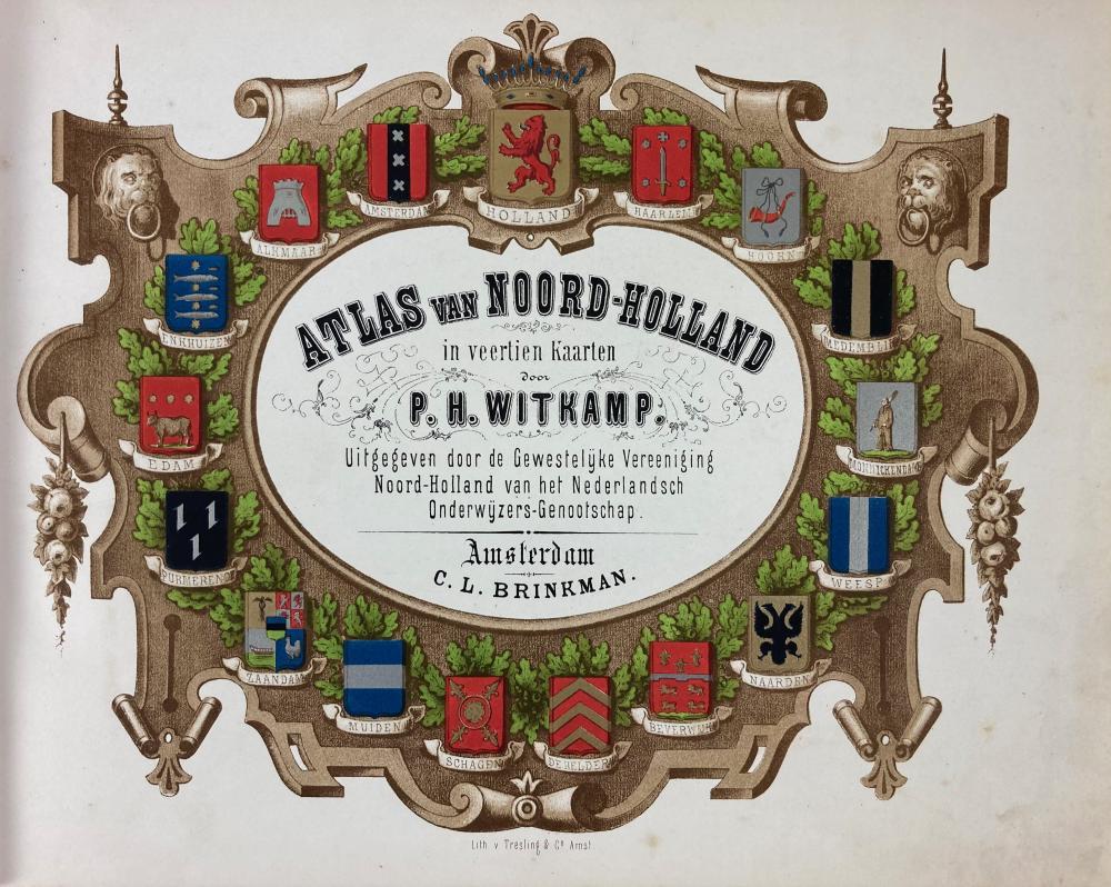 WITKAMP, P.H. Atlas van Noord-Holland. Amst., C.L. Brinkman, (1863). W. fine