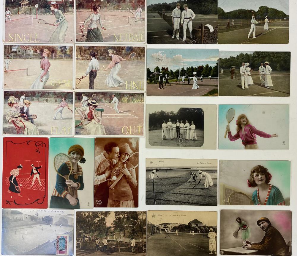 TENNIS POSTCARDS -- COLLECTION OF 518 PICTURE POSTCARDS OF PLAYERS/COURTS, CARICATURE & GREETING
