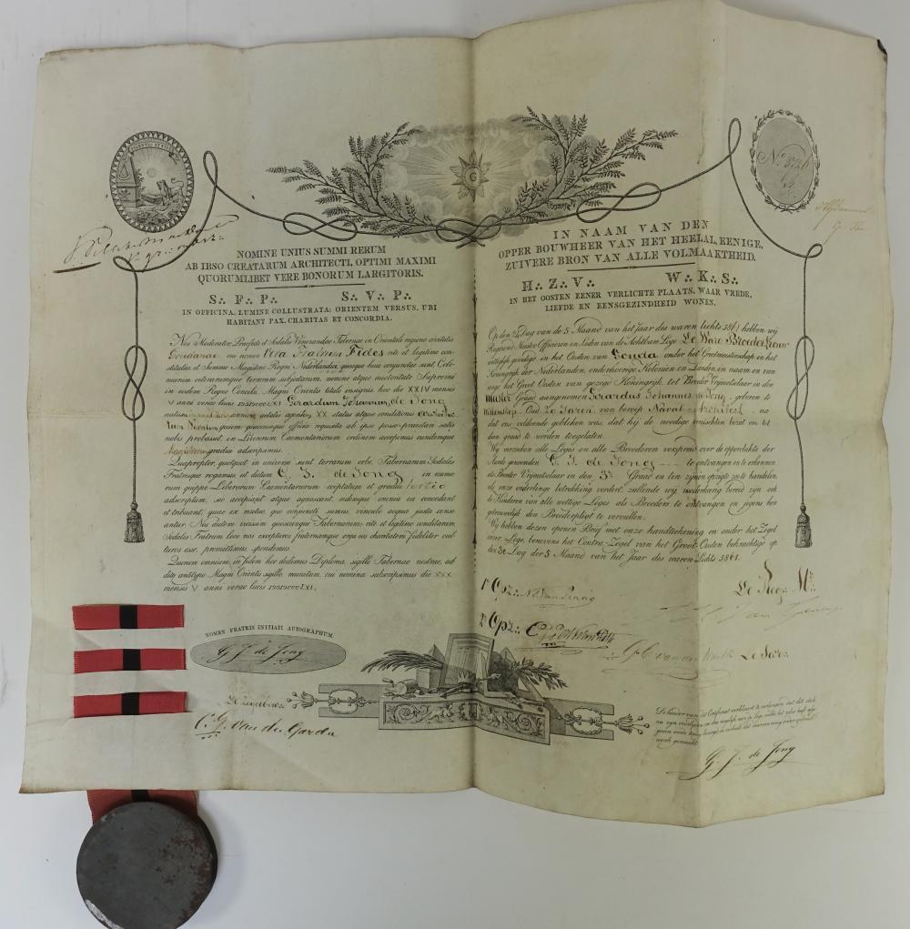FREEMASONRY -- CERTIFICATE of the 'Loge De Ware Broedertrouw' in Gouda for Gerardus