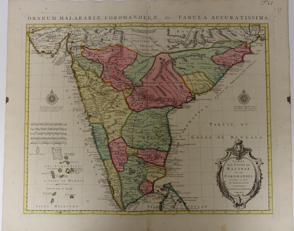 """INDIA -- """"CARTE DES CÔTES DE MALABAR ET DE COROMANDEL"""". Amst., Covens & Mortier"""