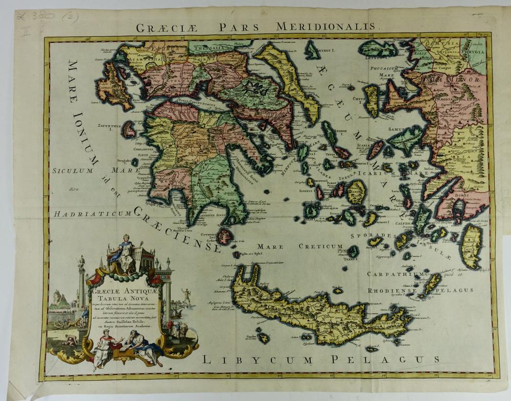 """MEDITERRANEAN -- """"GRÆCIÆ ANTIQUÆ Tabula Nova"""". c. 1730. Cold. engr. map by G"""