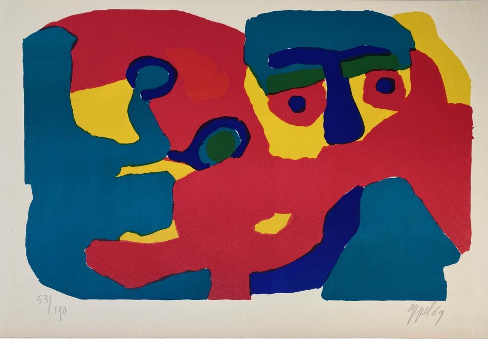 """APPEL, Karel (1921-2006). """"Man met Sjaal"""". (1969). Cold. lithogr. 360 x 510"""