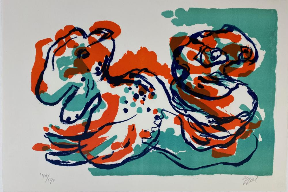 APPEL, Karel (1921-2006). (Two figures). (1968). Cold. lithogr. 330 x 480 mm