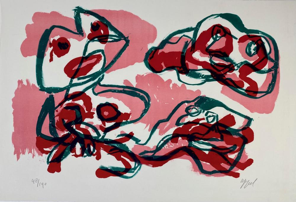 APPEL, Karel (1921-2006). (Three figures). (1968). Cold. lithogr. 324 x 497 mm
