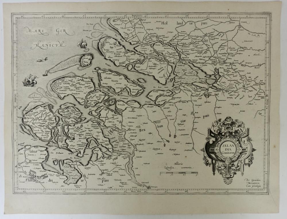 "ZEELAND -- ""ZELANDIA COMITATUS"". (Mercator, 1585). 345 x 488 mm. Plain engr. map"
