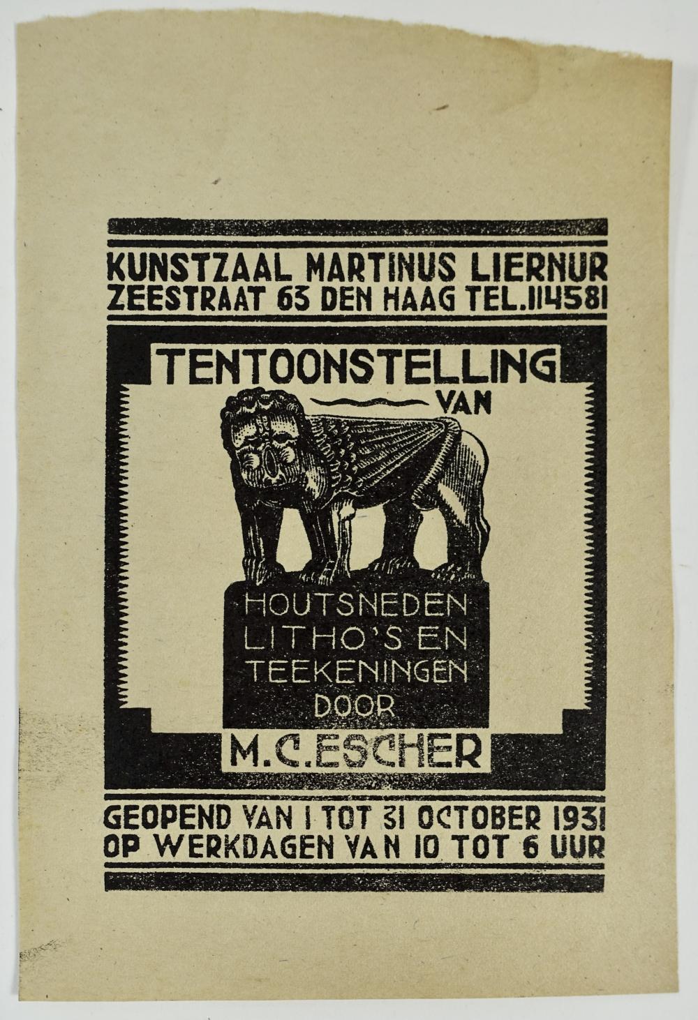 ESCHER, M.C. (1898-1972). Uitnodiging, september 1931. (1931). Woodcut 12 x 9 cm