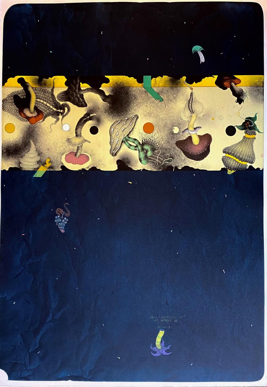 """GAZOVIC, Vladimír (1939-). """"Pozor, civilizácia II"""". (1994). Cold. lithogr. 980 x 700"""
