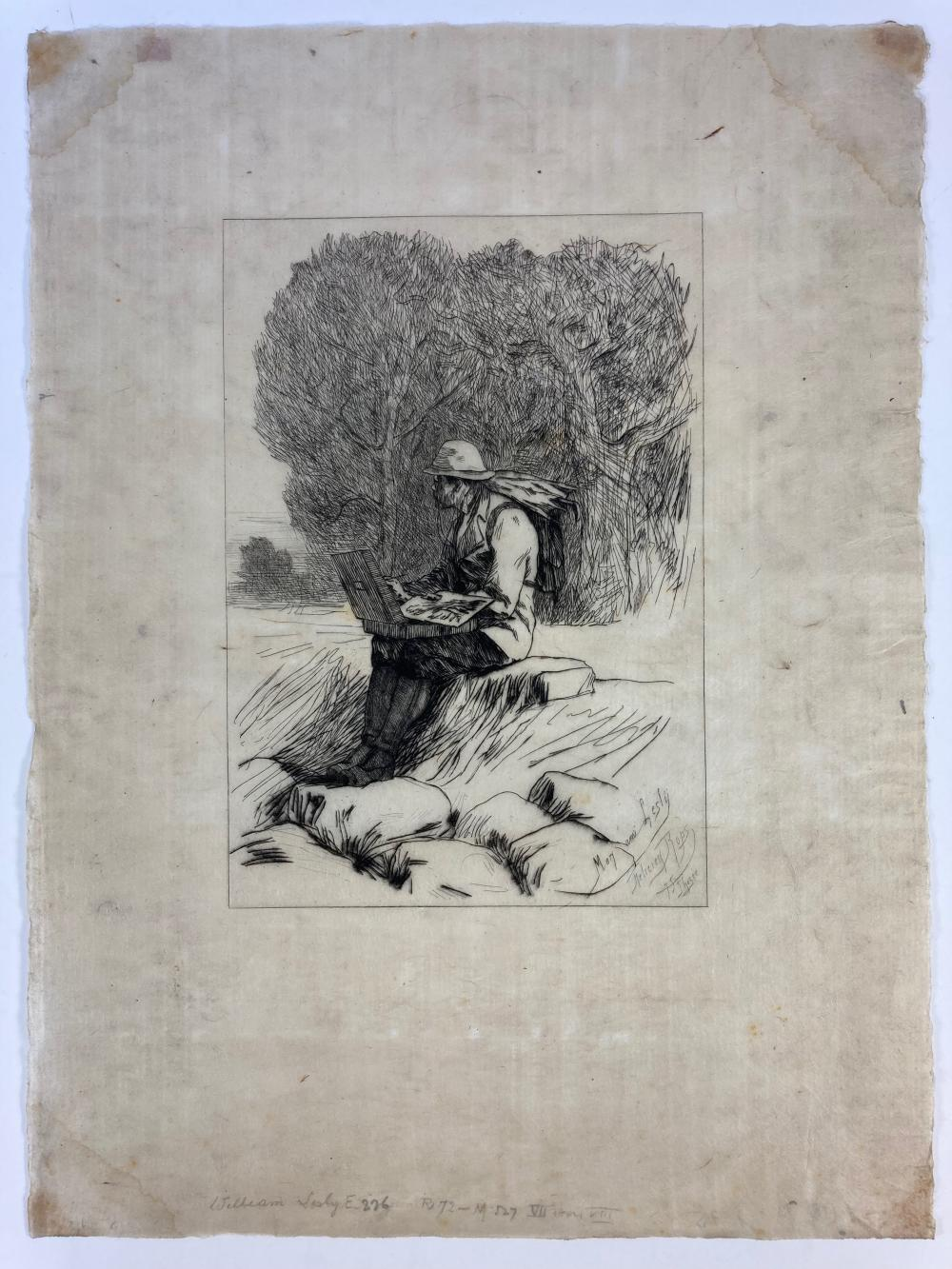 """ROPS, Félicien (1833-1898). (""""William Lesly""""). (1875). Etching on Japanese paper. 233 x"""