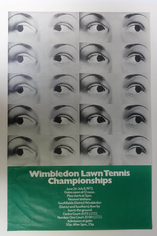 "TENNIS -- ""WIMBLEDON LAWN TENNIS CHAMPIONSHIPS June 26-July 8, 1972"". Poster in"