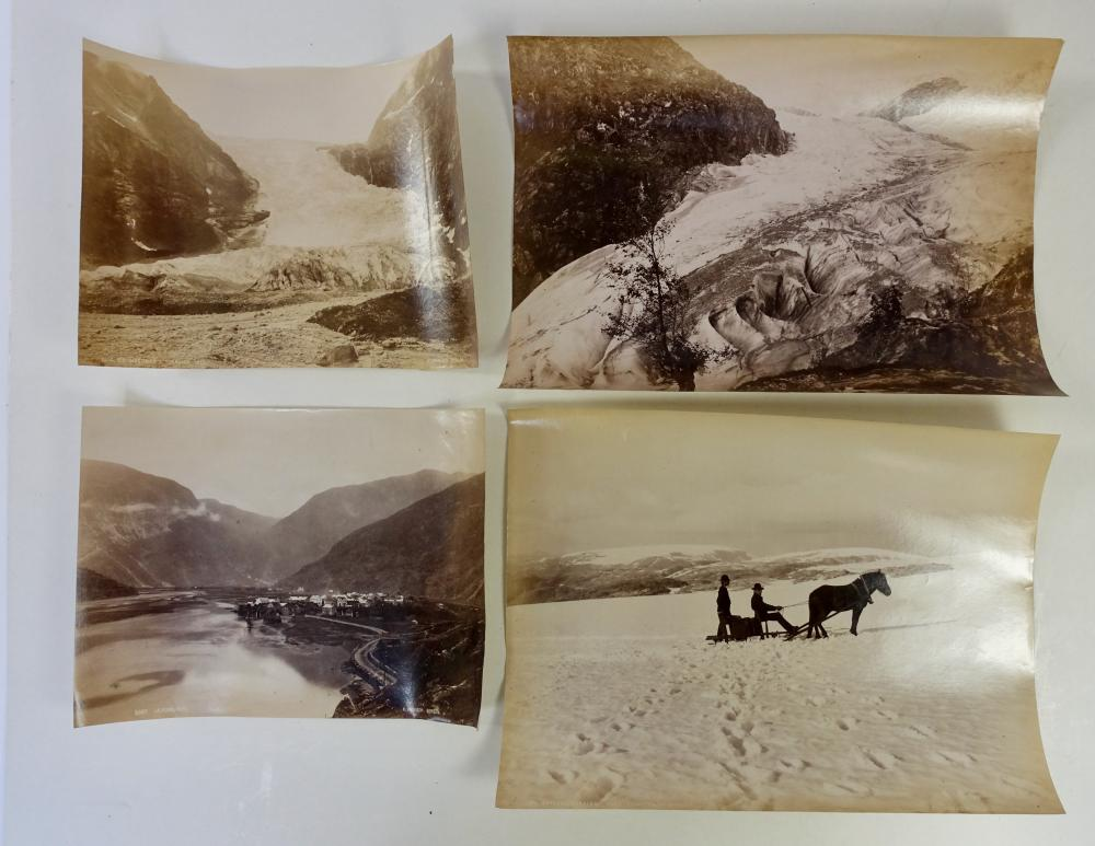 NORWAY -- COLLECTION of 16 photographs of Norwegian landscapes. Late 19th c. albumen