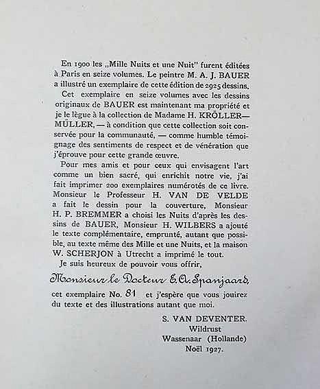 BAUER -- FRAGMENTS des mille nuits et une nuit. (Wassenaar, Ed. privée, 192