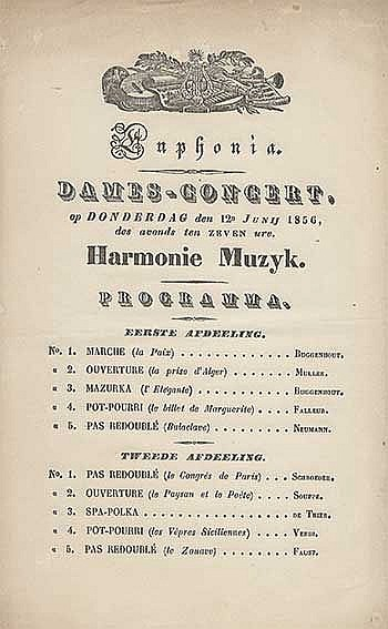 GOUDA -- EUPHONIA. Collection of c. 100 concert bills (c. 220 x 130 mm each
