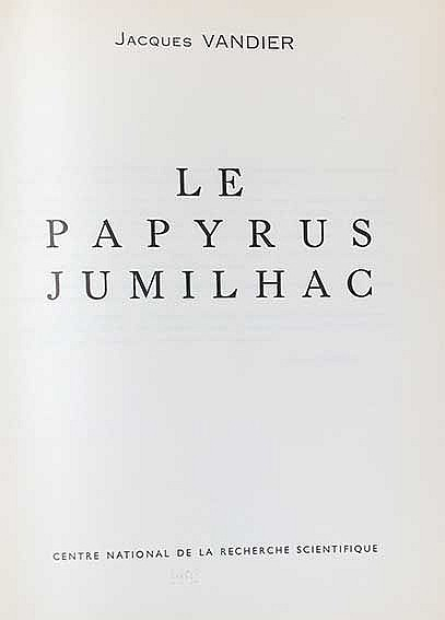 VANDIER, J. Le papyrus Jumilhac. Par., Centre Nat. de la Recherche Scientif