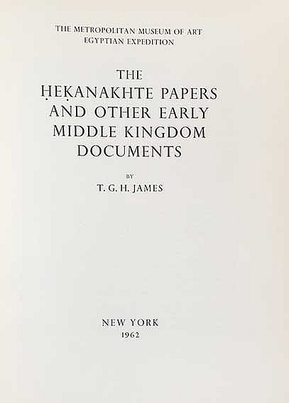 JAMES, T.G.H. The Hekanakhte papers and other early Middle Kingdom document