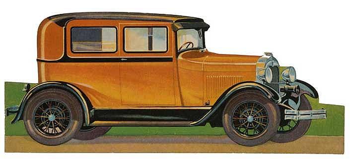 FORD (MODEL A TUDOR) SEDAN. N.d. (c. 1925). Cold. fold out shape folder dep
