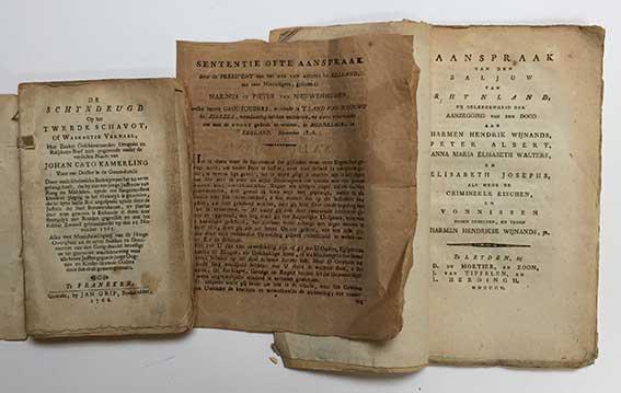 AANSPRAAK v.d. BALJUW v. RHYNLAND, bij gelegenheid der aanzegging v.d. dood