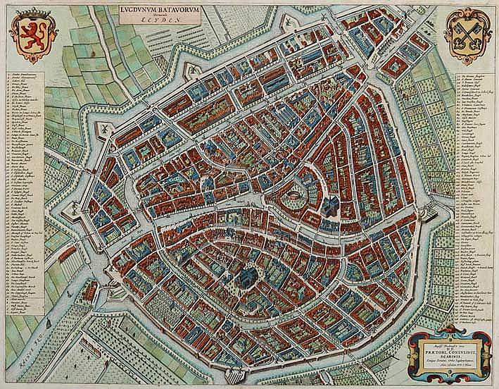 LEIDEN -- LUGDUNUM BATAVORUM vernacule Leyden. (Amst.), J. Blaeu, (1649). E
