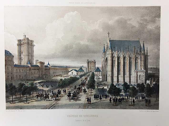 PARIS -- CHÂTEAU DE VINCENNES. Intérieur de la Cour. 250 x 368 mm. - EGLISE