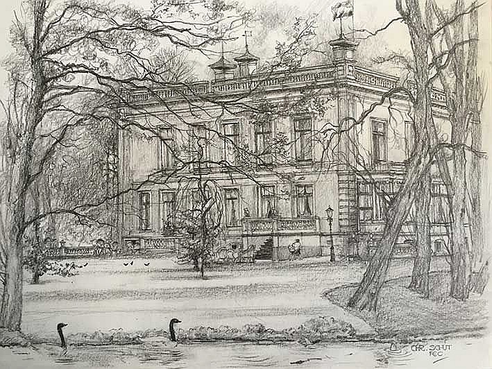 SCHUT, Chris (1912-2001). Series of 20 pencil drawn views of estates and co