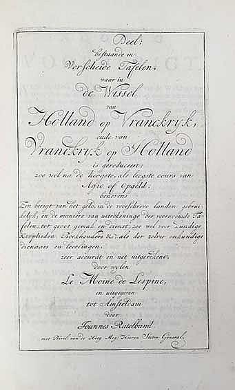 LE MOINE DE L'ESPINE, (J.). (Groot wisselboek, gereduceert, soo wel na de h