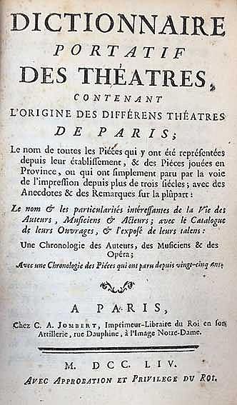 (LÉRIS, A. de). Dictionnaire portatif des théatres, contenant l'origine des