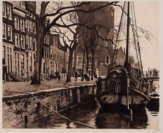 WITSEN, Willem Arnold ('Willem') (1860-1923). 'Oude Waal met schip en toren