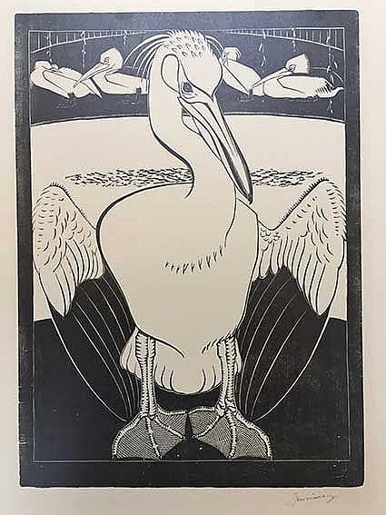 WITTENBERG, Jan Hendrik Willem ('Jan') (1886-1963). 'Pelikanen'. Woodcut on