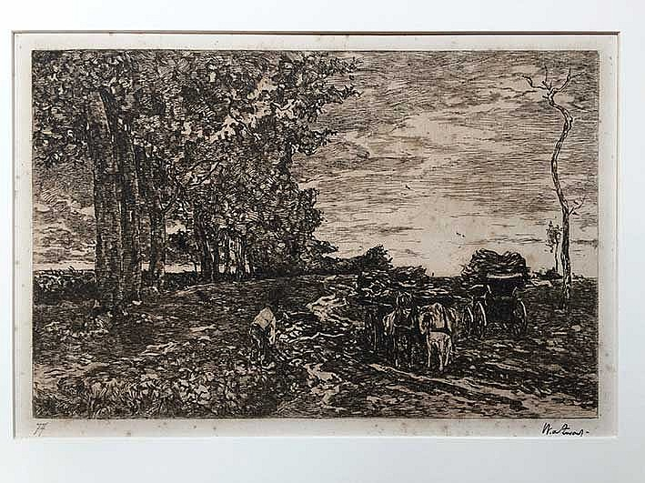 ZWART, Willem de, (1862-1931). Heath with trees and cart. (Printed by Mouto