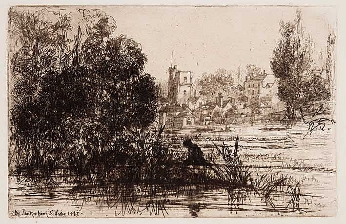 HADEN, Francis Seymour (1818-1910). 'Twickenham Church'. 1865. Etching and