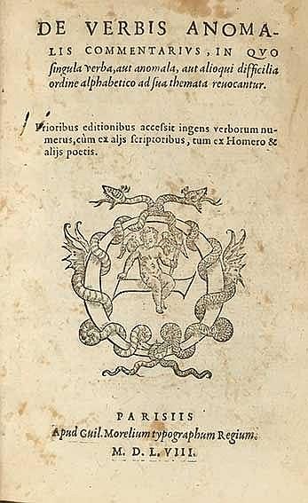 MOREL, G. De verbis anomalis commentarius, in quo singula verba, aut anomal
