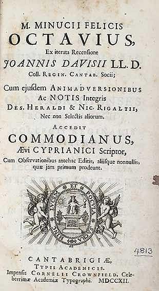 MINUCIUS FELIX. Octavius. Ex iterata rec. J. Davisii. Acced. COMMODIANUS. (