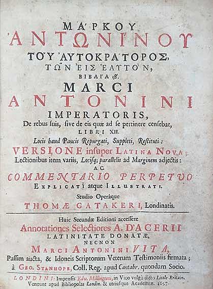 MARCUS (AURELIUS) ANTONINUS. De rebus suis, sive de eis quæ ad se pertinere
