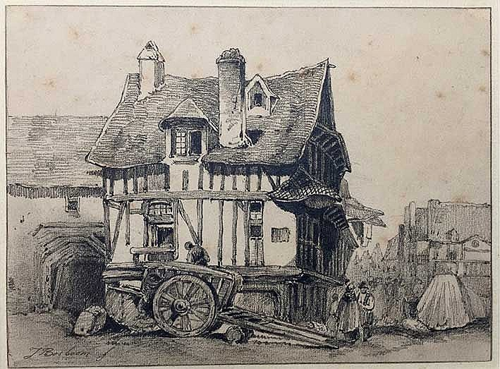 BOSBOOM, Johannes (1817-1891). Timbered house (France?/Germany?), with cart