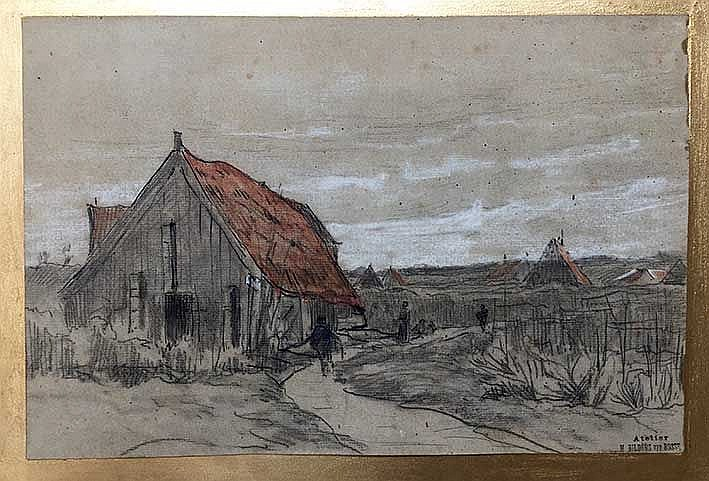 BILDERS-v. BOSSE, Maria Phillippina (1837-1900). Landscape with farmhouses.