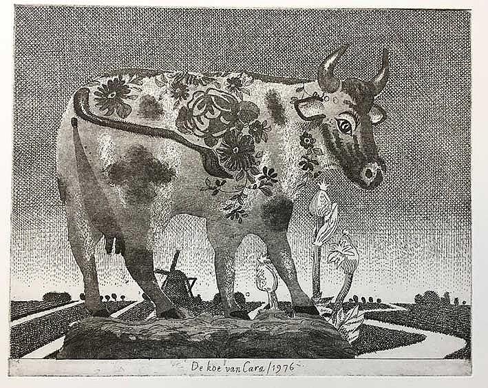 BERSERIK, Hermanus ('Herman') (1921-2002). 'De koe van Cara'. 1976. Etching