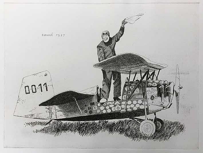 BERSERIK, Hermanus ('Herman') (1921-2002). 'Zwaaiende vliegenier'. 1987. Et
