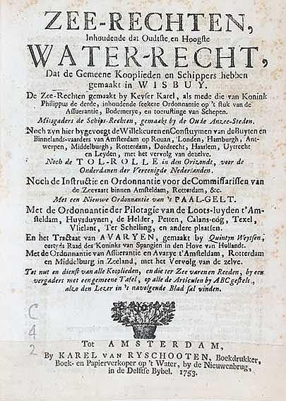 MARITIME LAW -- WEYTSEN, Q. Zee-rechten, inhoudende dat oudste en hoogste w