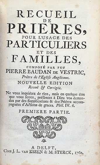 BAUDAN DE VESTRIC, P. Recueil de prieres, pour l'usage des particuliers et